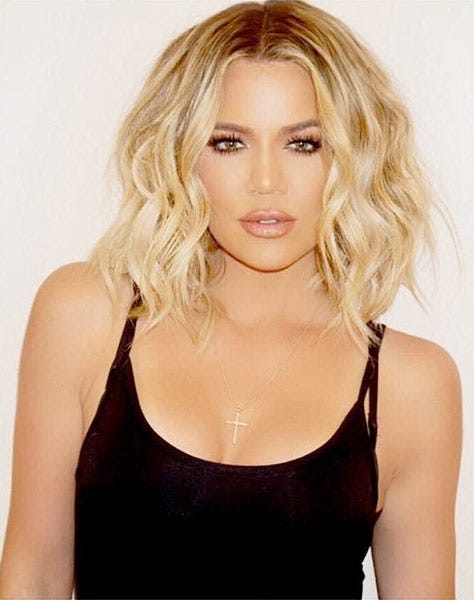 Khloe Kardashian Short Blonde Hair via @justinemarjan